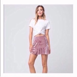 Velvet fit and flare skirt mauve